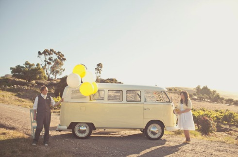 Bride and groom with balloon and combi