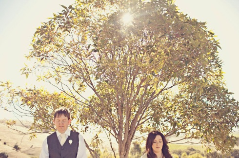 Bride and groom in engagement shoot