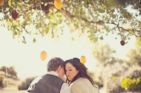 Bride and groom under lemon tree in engagement shoot