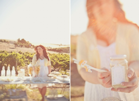 Bride with lemonade in Lemon themed engagement shoot
