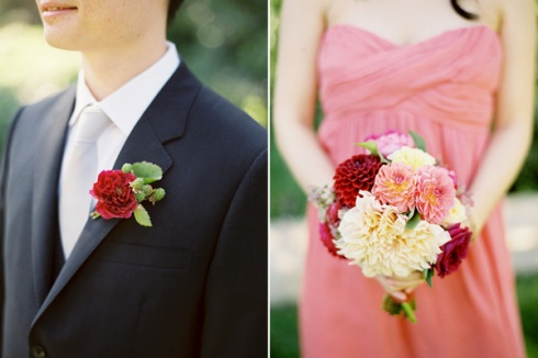 Peach bridesmaids and colourful bouquet