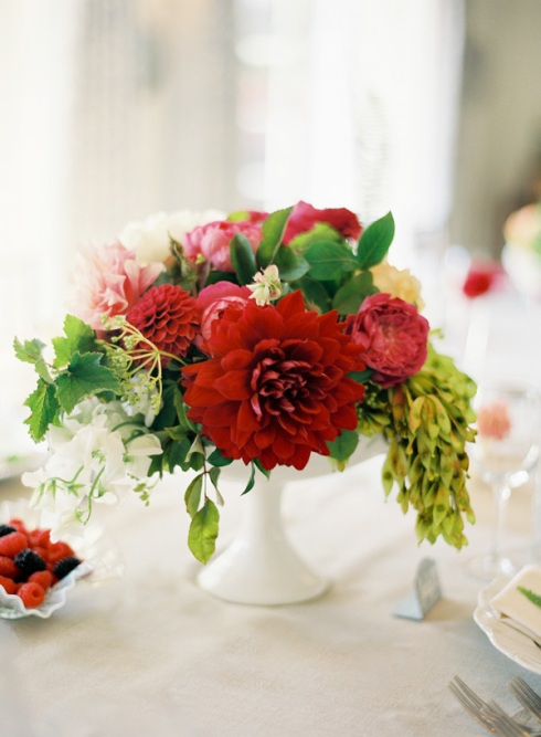 Red flower centrepiece