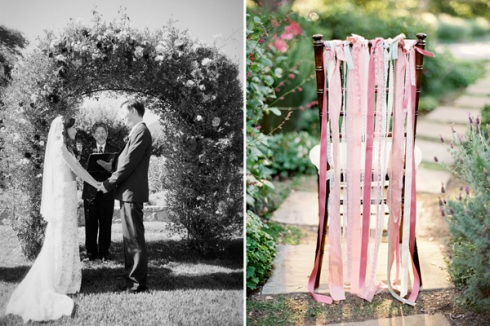 Garden ceremony with pink ribbon chair