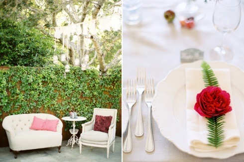 Red table setting and vintage chairs