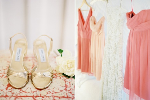 Peach coloured bridesmaids dresses