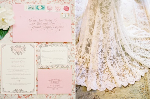 Lace dress and invitations
