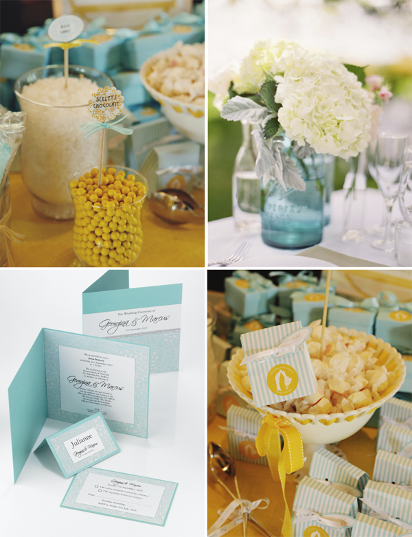 Blue and Yellow wedding colours Clockwise from top right Sweet Monday