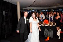 Bride and groom entrance - orange theme