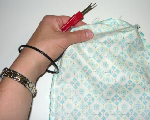 Unstitching a bag