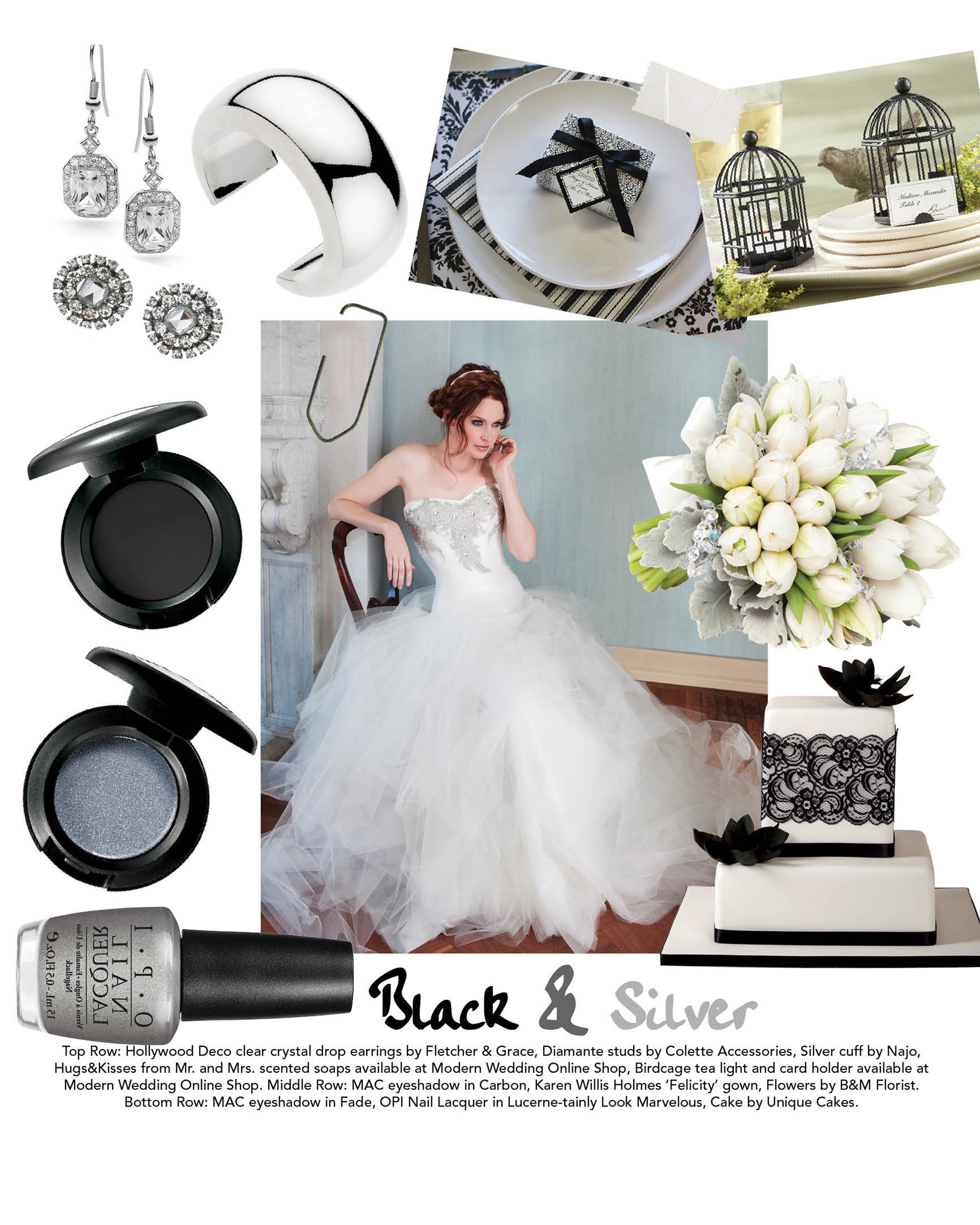 Check out the inspiration board below Hints for a black silver wedding