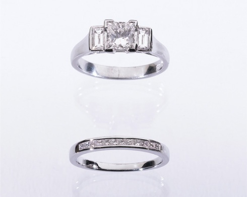 princess wedding ring set