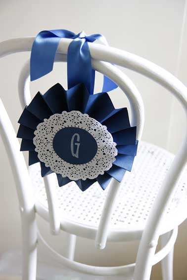 paper rosettes for chair decoration