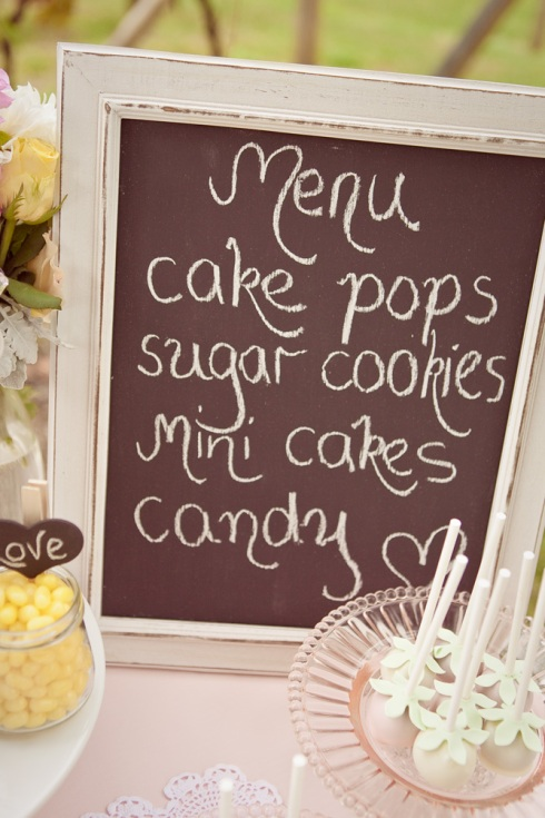 Dessert buffet - chalk board