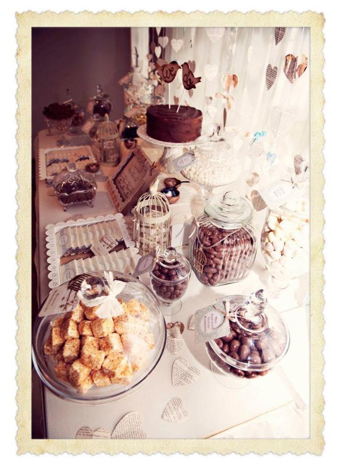 Vintage love birds candy buffet