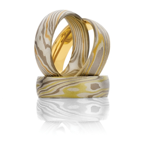 Mokume wedding rings