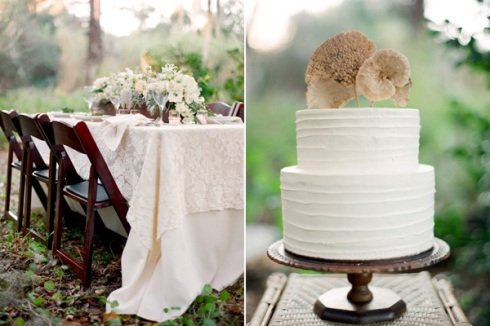 Forest wedding cake and table setup