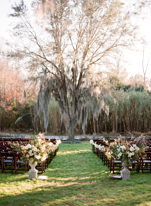 Ceremony set up for Forest wedding