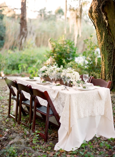 Bridal table at garden wedding