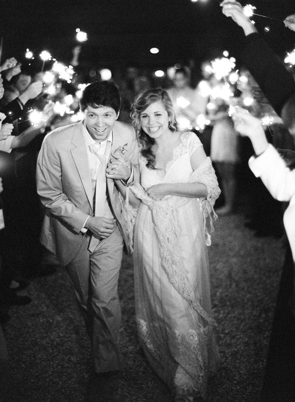 Bride and groom at garden wedding