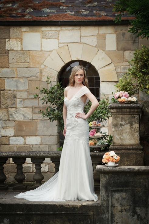 Couture wedding gown - drop waisted