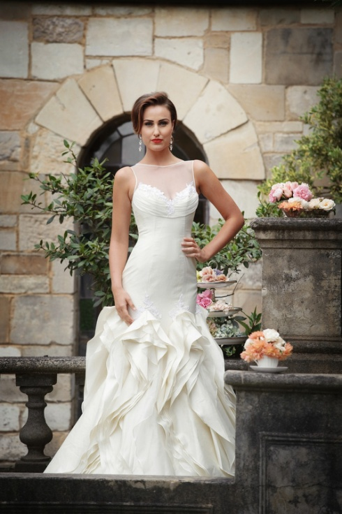 Couture wedding gown with ruffles