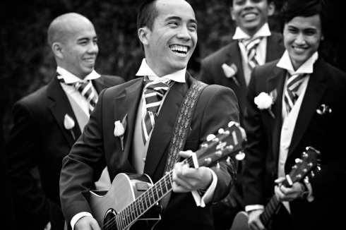 Wedding band playing guitars