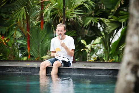 Bali wedding - groom by the pool