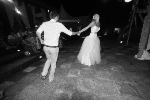 Bali wedding - bride and groom dancing