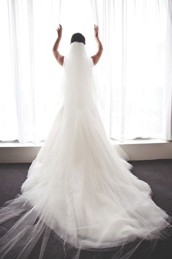 Bride by a window