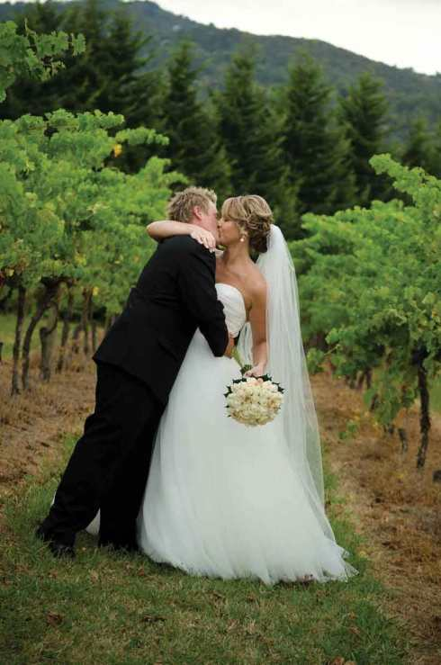 Bride and Groom in a Winery Wedding