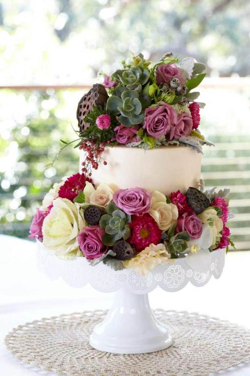 Chanele Rose Flowers - Floral Wedding Cake
