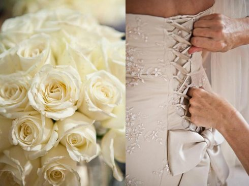 White Rose Bouquet & Wedding Dress with Bow